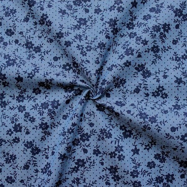 "100% Baumwollstoff Chambray ""Fleurs et Points"" Farbe Blau"