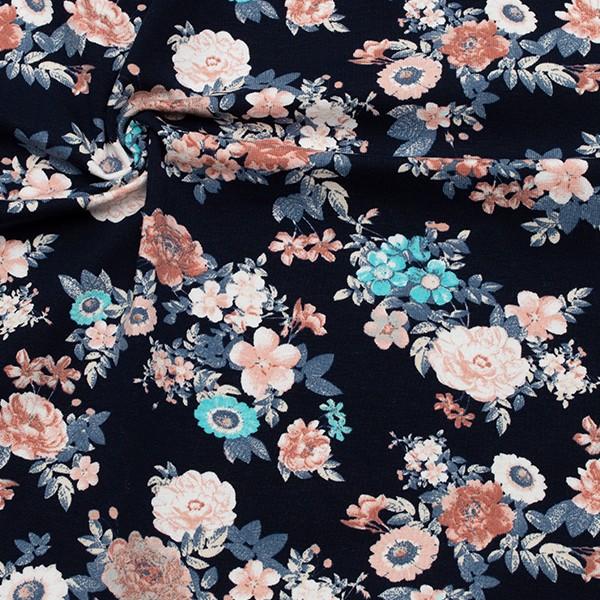 Baumwoll Stretch Jersey Blütentraum Navy-Blau