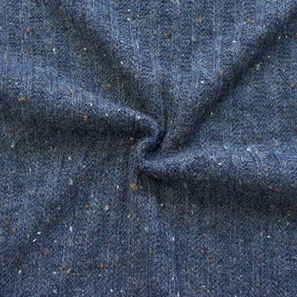 """Strickstoff gerippt """"Wool Look"""" Farbe Blau meliert"""