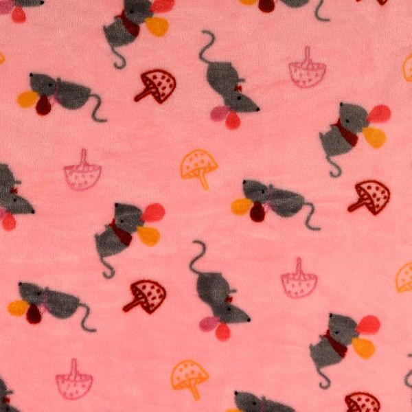 Wellness Fleece Doubleface Mäuse und Pilze Rosa
