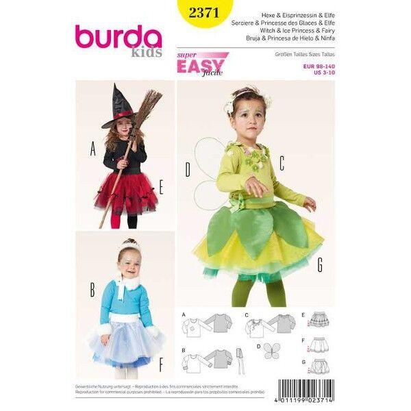 Burda 2371 Schnittmuster Mädchenkostüm Hexe, Elfe und Eisprinzessin