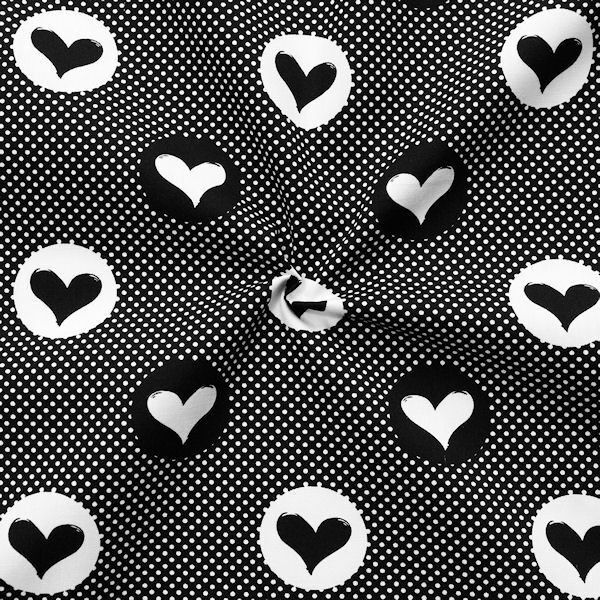 """100% Baumwollstoff """"Hearts & Dots"""" Farbe Schwarz-Weiss"""