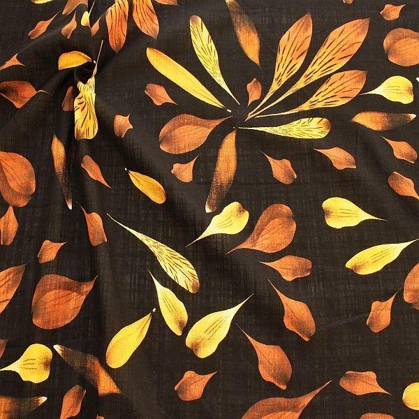 Baumwolle Viskose Modestoff Dekostoff Blätter Schwarz