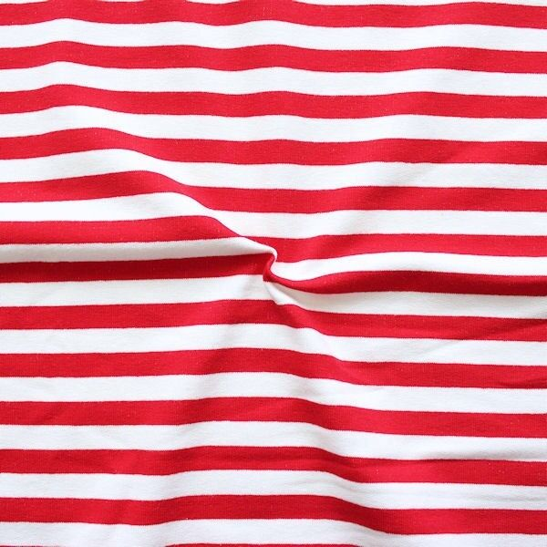 "Sweatshirt Baumwollstoff French Terry ""Classic Stripes"" Farbe Weiss-Rot"