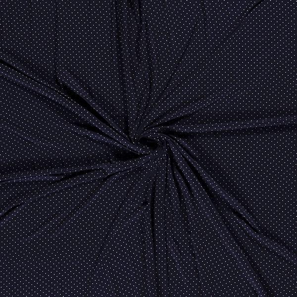 Viskose Stretch Jersey Punkte mini Dunkel-Blau