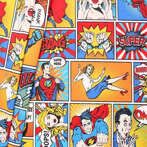 "Dekostoff ""Comic Super Held"" Multicolor"