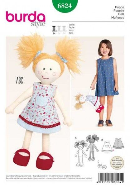 Puppe, Schnittmuster Burda 6824
