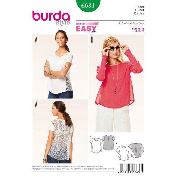 Shirt – Blusenshirt, Gr. 36 - 46, Schnittmuster Burda 6631