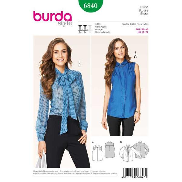 Bluse – verdeckte Knopfleiste – Bindekragen, Gr. 36 - 48, Schnittmuster Burda 6840