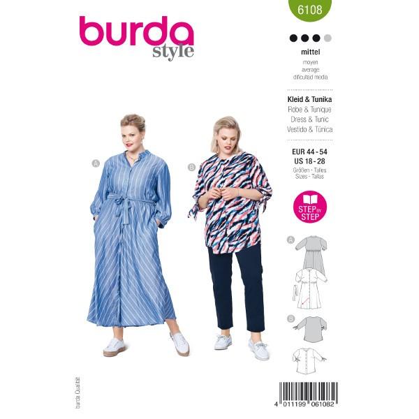 Schickes Hemdblusenkleid / Kragenlose Bluse, Gr. 44 - 54 Schnittmuster Burda 6108