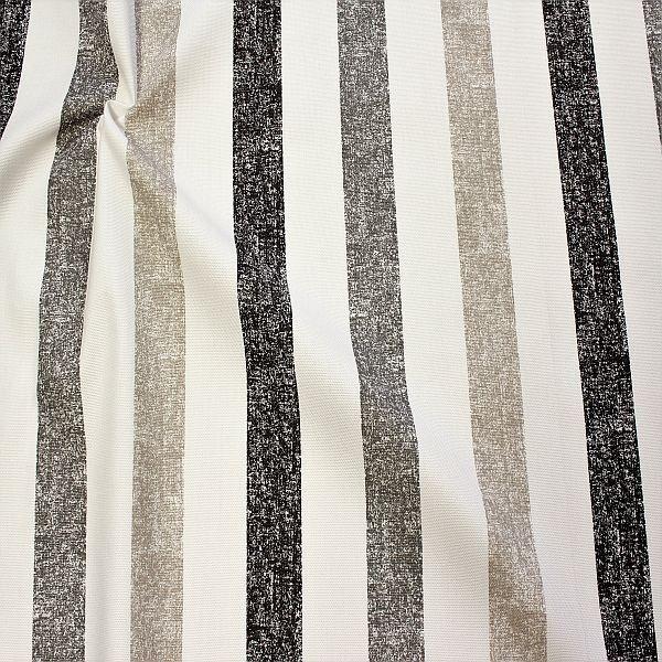 Dekostoff Halbpanama Vintage Stripes Schwarz-Grau-Beige