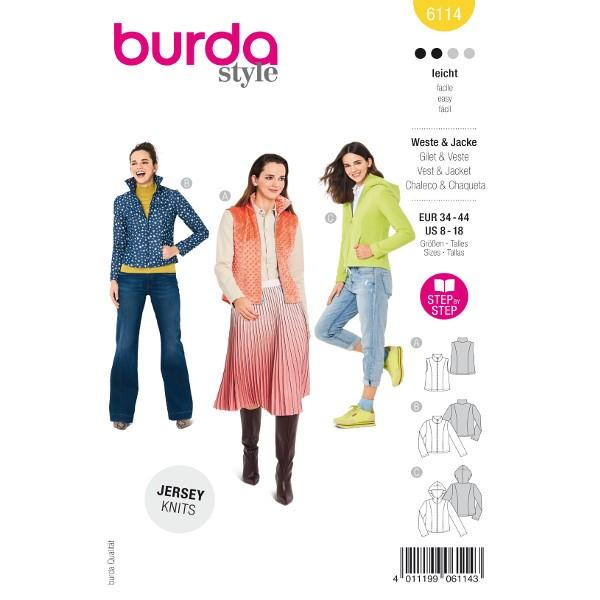 Weste und Jacken mit und ohne Kapuze, Gr. 34 - 44 Schnittmuster Burda 6114