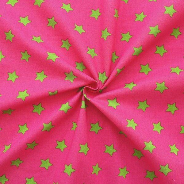 """100% Baumwollstoff """"Sterne Groß"""" Farbe Pink-Grün"""