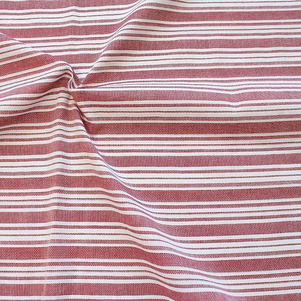 Baumwolle-Leinen Stoff Streifen Mix Rot-Weiss