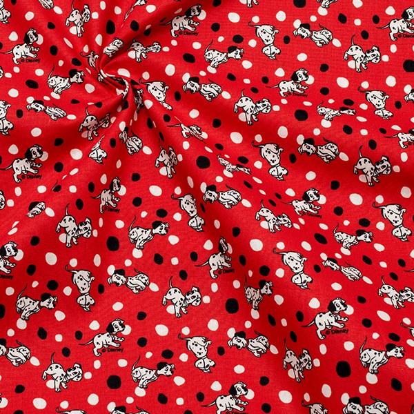 Lizenz Baumwollstoff Popeline 101 Dalmatiner klein Rot