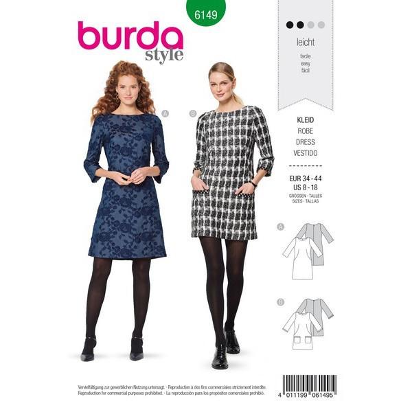 Kleid – halsferner Rundhalsausschnitt – 3/4 Ärmel, Gr. 34 - 44, Schnittmuster Burda 6149
