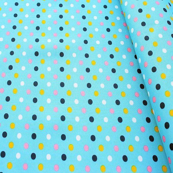 Oxford Gewebe Color Dots Türkis-Blau