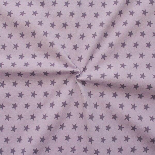 Baumwoll Stretch Jersey Sterne mittel Flieder-Lila