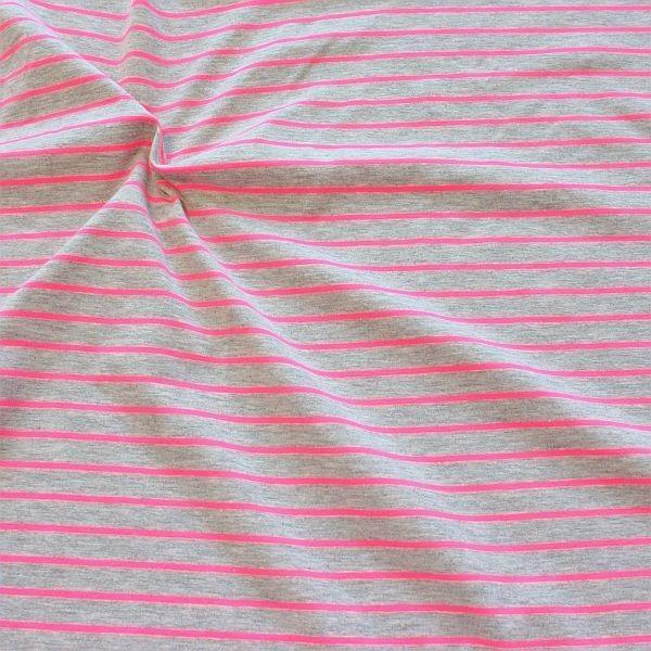 Baumwoll Stretch Jersey Neon Ringel Pink-Grau meliert