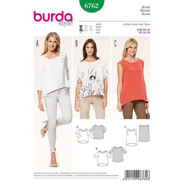 Bluse – dekorative Halsblende – Boxy Style, Gr. 36 - 46, Schnittmuster Burda 6762