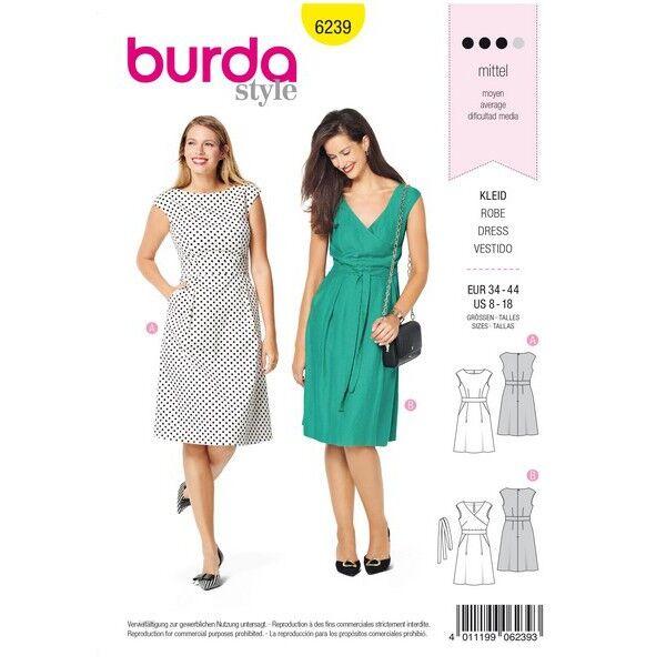Kleid mit Taillenblende – überschnittene Schultern, Gr. 34 - 44, Schnittmuster Burda 6239