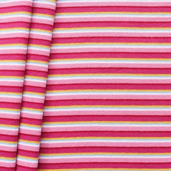 """Baumwoll Bündchenstoff """"Ringel Mix glatt"""" Farbe Rosa-Pink-Gelb"""