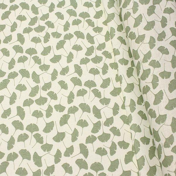 Baumwolle Dekostoff Ginkgo Blätter Mint-Grün