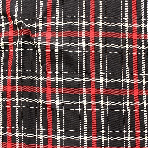 Mode- Dekostoff Scottish Check Schwarz-Rot