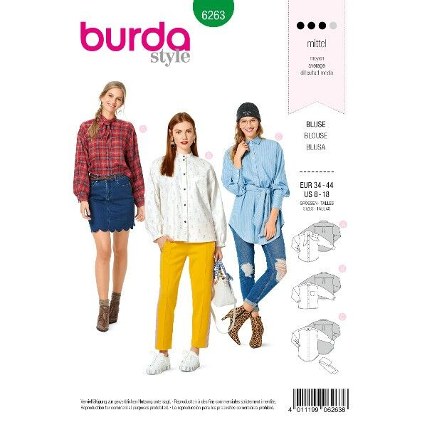Bluse – Hemdbluse –  Kragenvarianten, Gr. 34 - 44, Schnittmuster Burda 6263