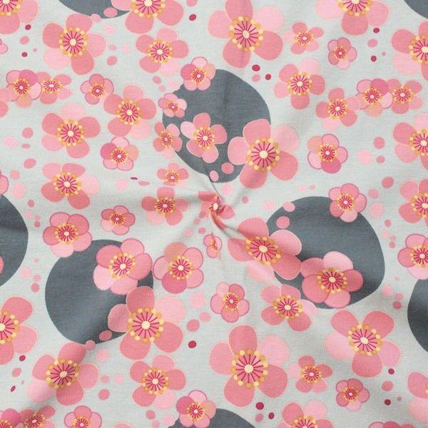 Baumwoll Stretch Jersey Blossom & Dots Hell-Grau