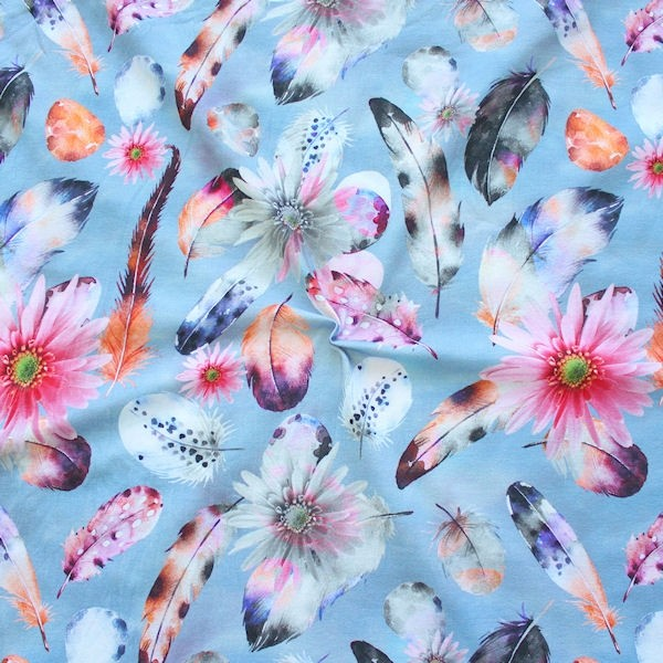 "Baumwoll Stretch Jersey ""Federn & Blüten"" Farbe Tauben-Blau"