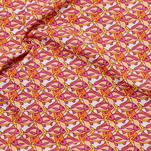 100% Viskose Javanaise Fischschwarm Pink
