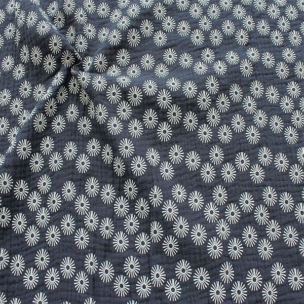 Baumwolle Musselin Strahlenblüten Dunkel-Blau
