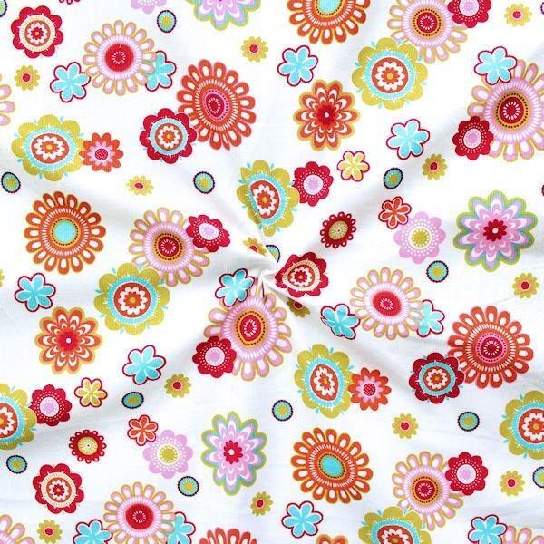 "Feincord Baumwollstoff ""Flower Power 4"" Farbe Weiss"