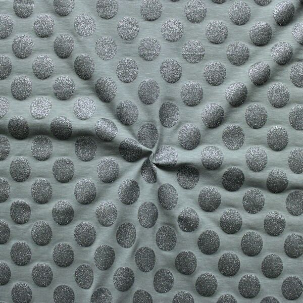 "Baumwoll Stretch Jersey ""Glamour Dots"" Farbe Grau"