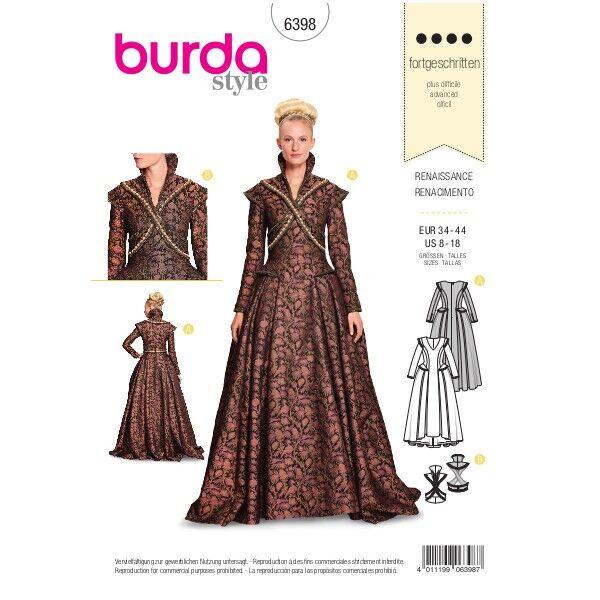 Renaissance-Outfit,  Gr. 34 - 44, Schnittmuster Burda 6398