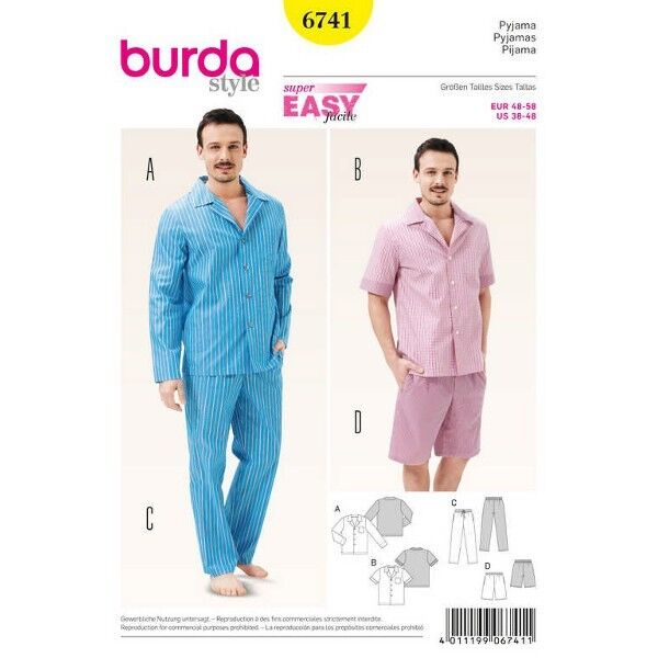 Herren-Pyjama – klassischer Stil, Gr. 48 - 58, Schnittmuster Burda 6741