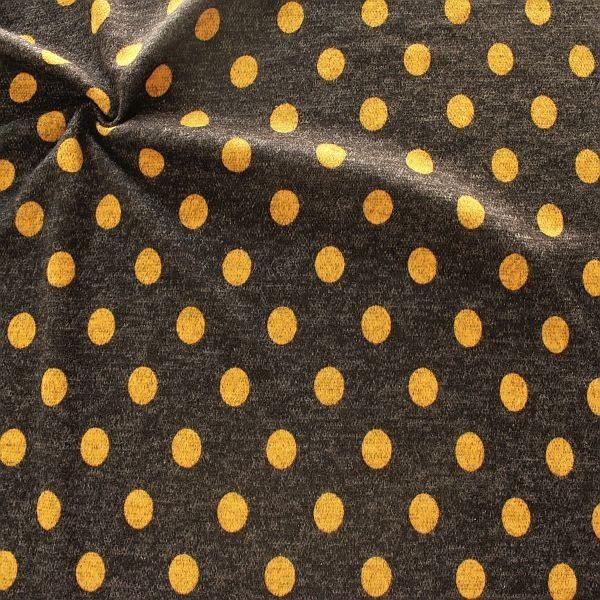 Jacquard Strick Jersey Dots Anthrazit-Ocker