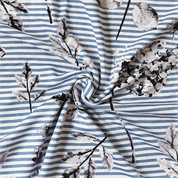 Viskose Stretch Jersey Streifen & Hortensien Weiss Tauben-Blau
