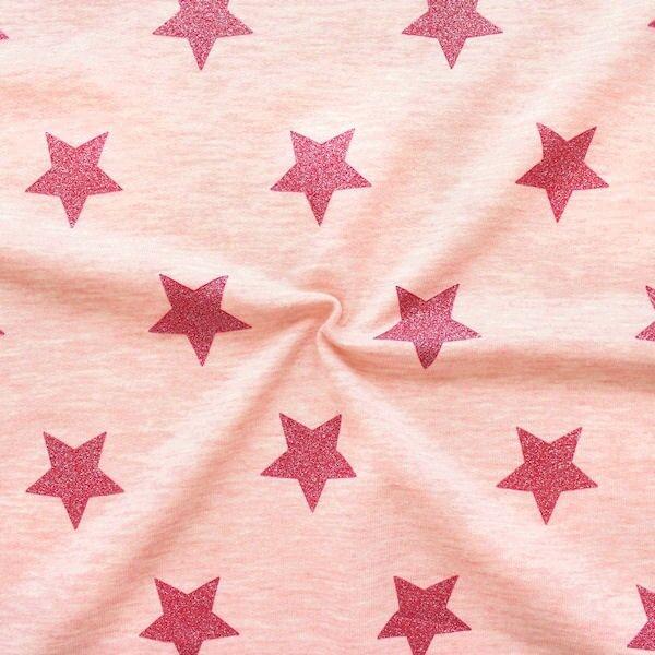 "Sweatshirt Baumwollstoff ""Glitzer Sterne XL"" Farbe Rosa meliert"