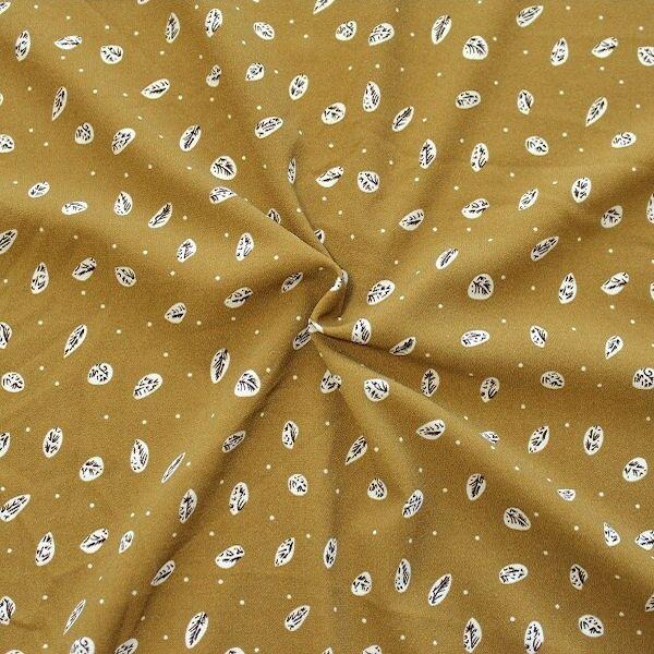 Crêpe Modestoff  Blätter & Punkte Senf-Gelb
