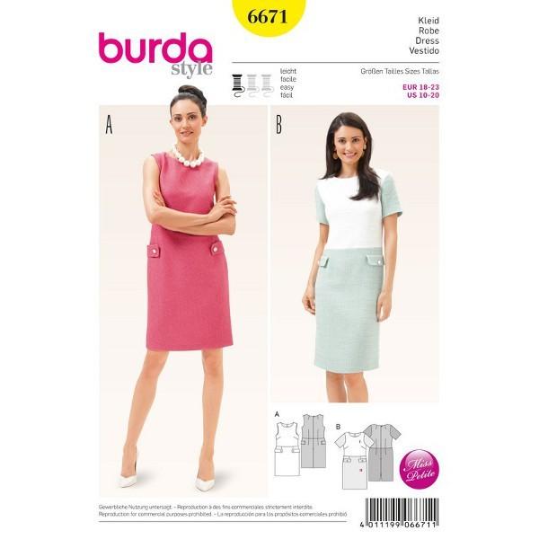 Kleid – Etuikleid – Kurzgrößen, Gr. 18 - 23, Schnittmuster Burda 6671