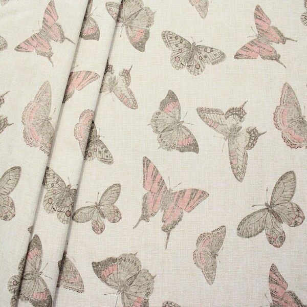 Dekostoff Butterfly Mix Hell-Beige Rosa meliert