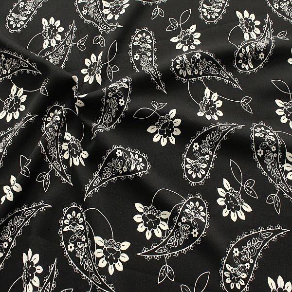 Modestoff Paisley & Blumen Schwarz-Ecru