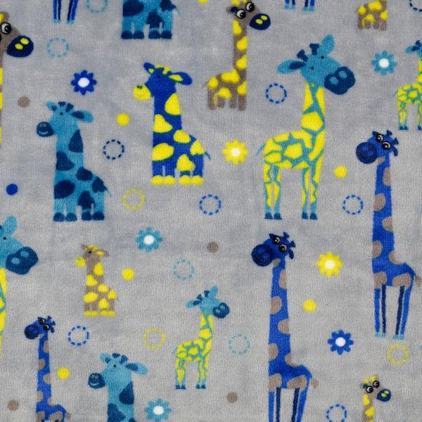 Wellness Fleece Doubleface Giraffen und Wolken Grau