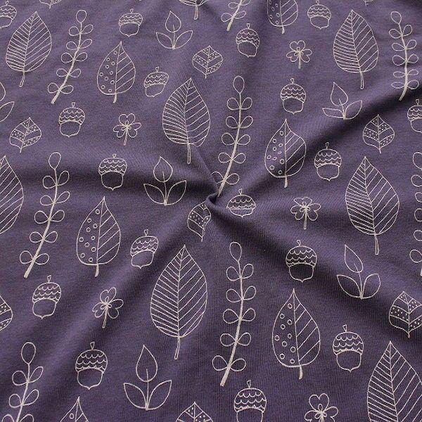 Sweatshirt Baumwollstoff Blätter Mix Lila meliert