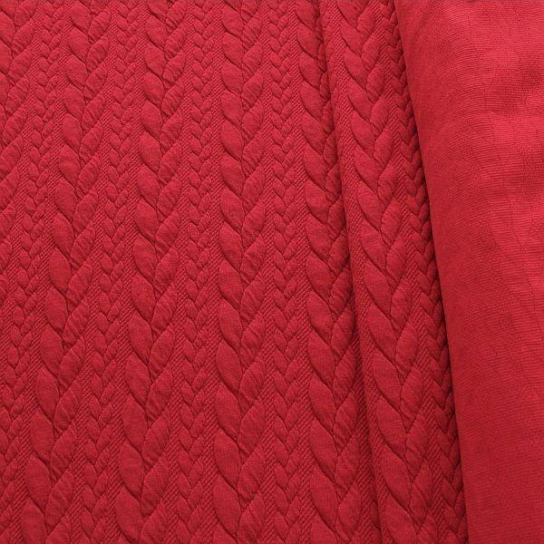 Jacquard Strick Jersey Zopfmuster Rot