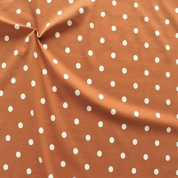Baumwoll Stretch Jersey Classic Dots Rost-Braun Weiss
