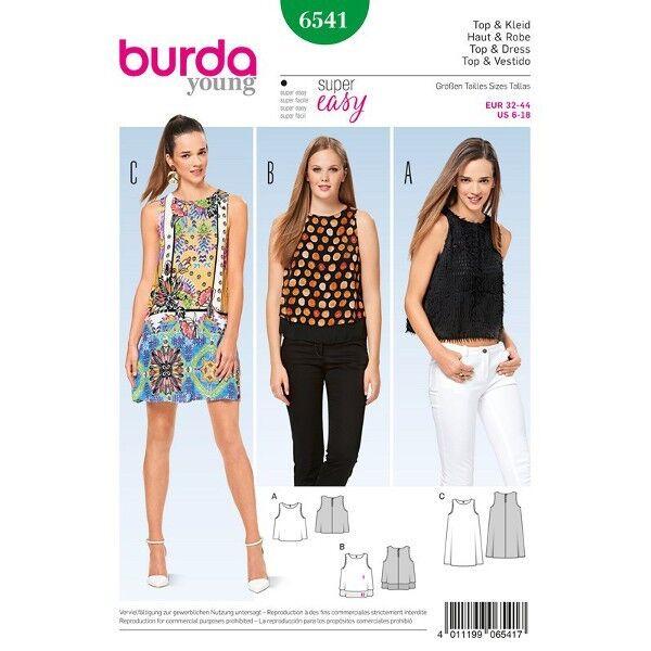 Top - Kleid - ärmellos, Gr. 32 - 44, Schnittmuster Burda 6541