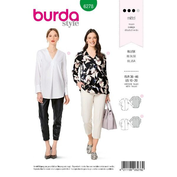 Bluse mit rückwärtiger Passe – V-Ausschnitt – einseitige Falte im Vorderteil, Gr. 36 - 46, Schnittmuster Burda 6278